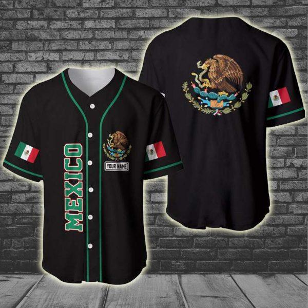 Custom Name Mexico Coat of arms 3D baseball Jersey Shirt