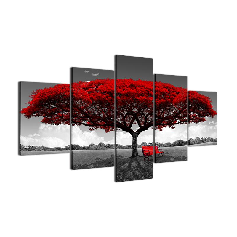 5P Canvas Romantic Tree 5 panel wall art canvas