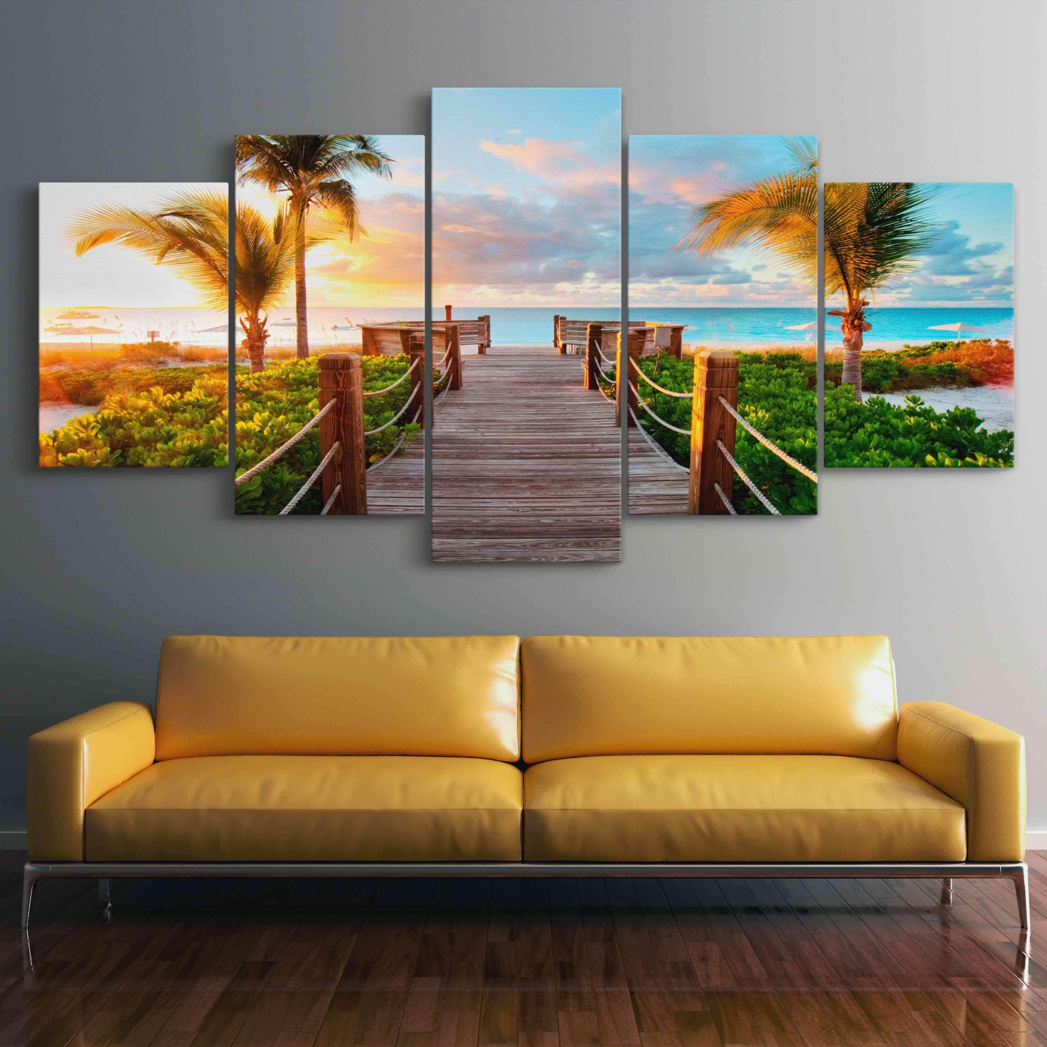 5P Canvas Boardwalk to Paradise 5 panel wall art canvas