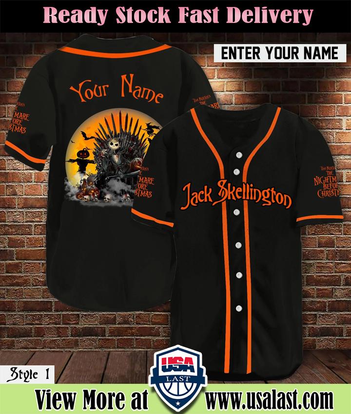 Personalized Name Jack Skellington Baseball Jersey Shirt