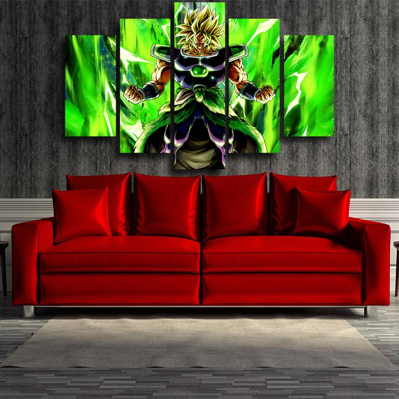 5P Canvas Dragon Ball Electrifying Broly Full Power 5 panel Canvas Print