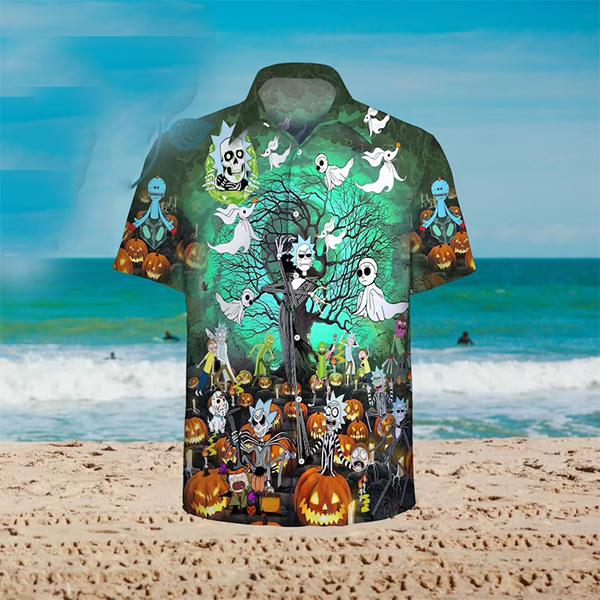 Rick And Morty Tim Burton Halloween Hawaiian Shirt