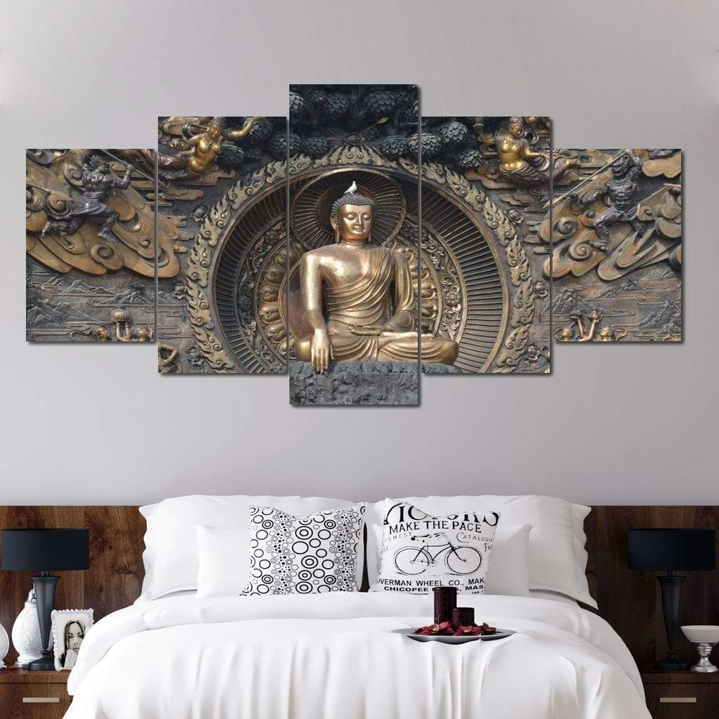 5P Canvas Gautama Buddha 5 panel wall art canvas