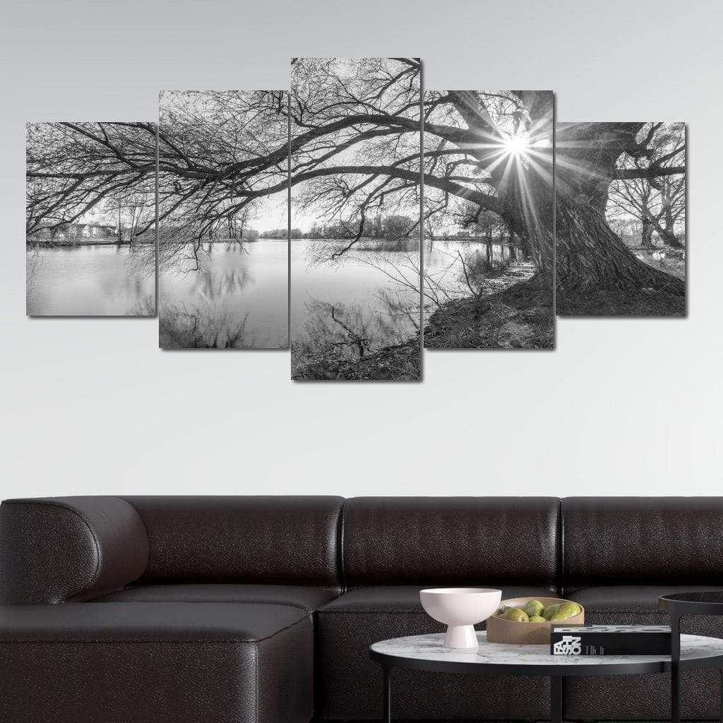 5P Canvas Black White Lake 5 panel wall art canvas