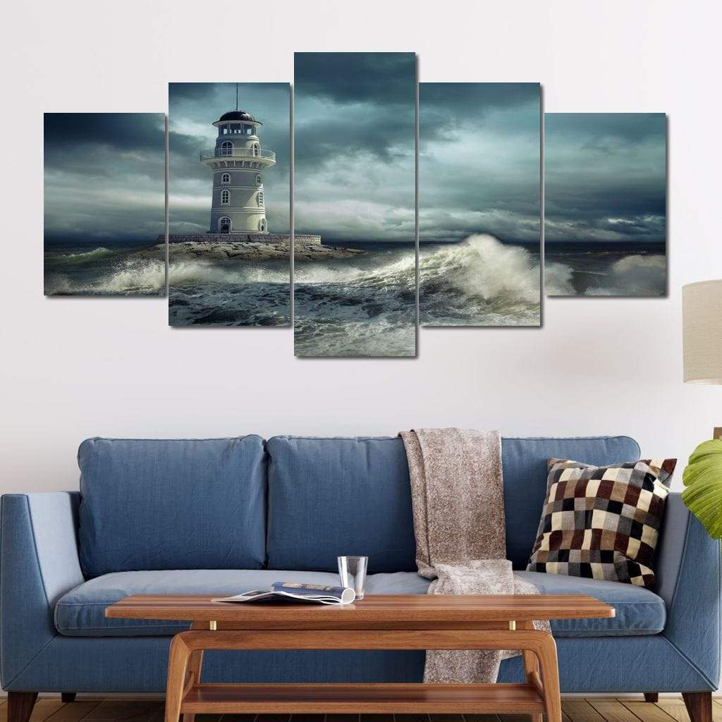 5P Canvas Dramatic Lighthouse 5 panel wall art canvas