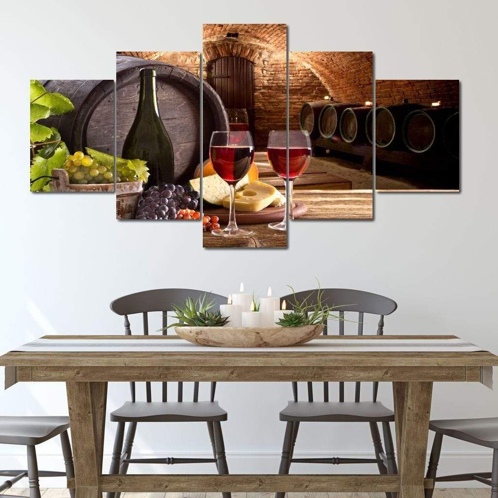 5P Canvas Wine with breakfast 5 panel wall art canvas