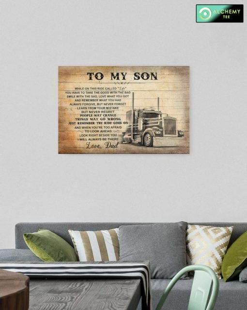 To My Son Love Dad Trucker Canvas Poster