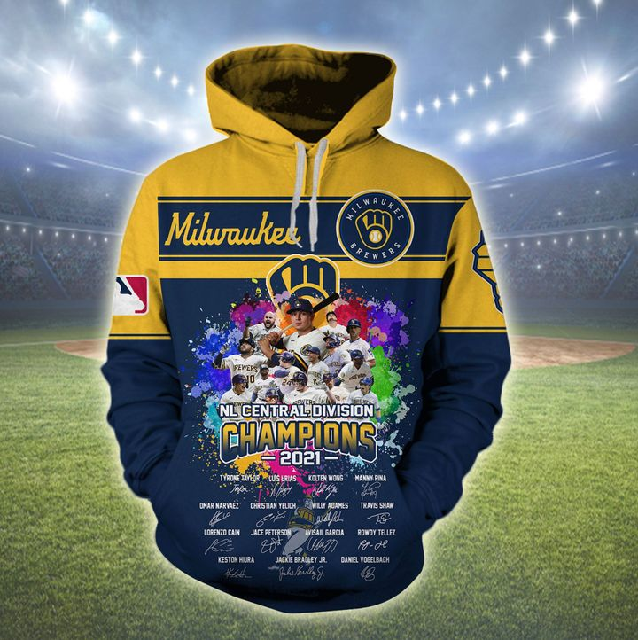 Milwaukee Brewers National League Central Division Champions 2021 3D All Over Print Shirt