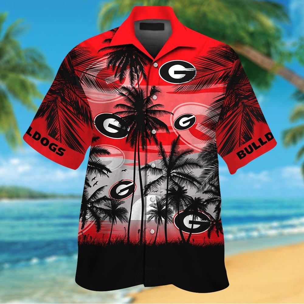 NCAA Georgia Bulldogs Summer Hawaiian Shirt Men Women Shorts