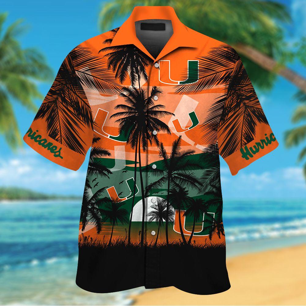 NCAA Miami Hurricanes Summer Hawaiian Shirt Men Women Shorts