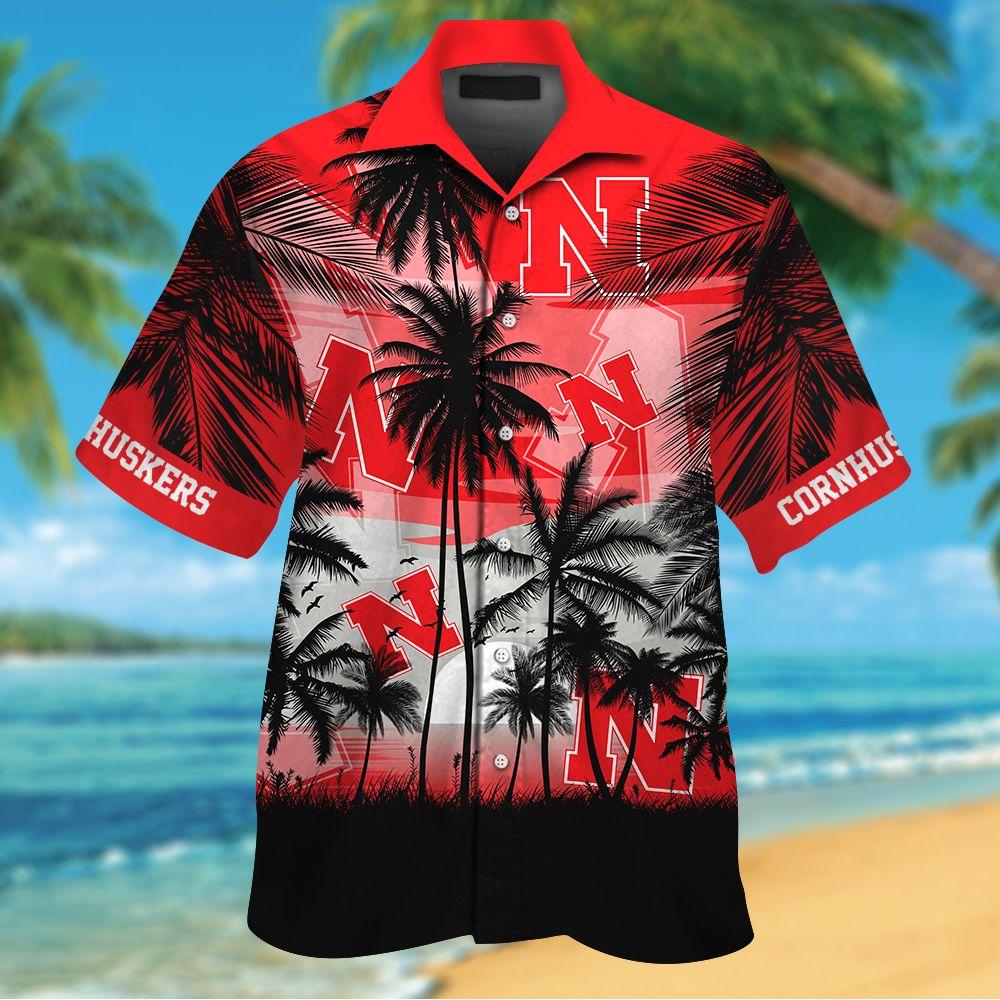 NCAA Nebraska Cornhuskers Summer Hawaiian Shirt Men Women Shorts