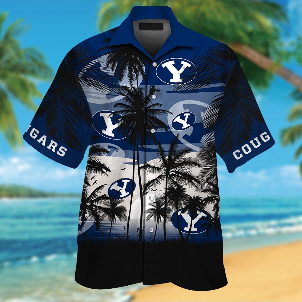 NCAA BYU Cougars Summer Hawaiian Shirt Men Women Shorts