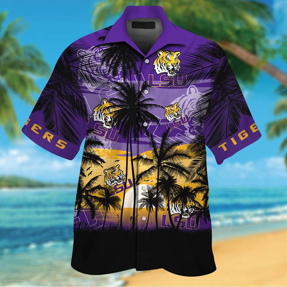 NCAA LSU Tigers Summer Hawaiian Shirt Men Women Shorts