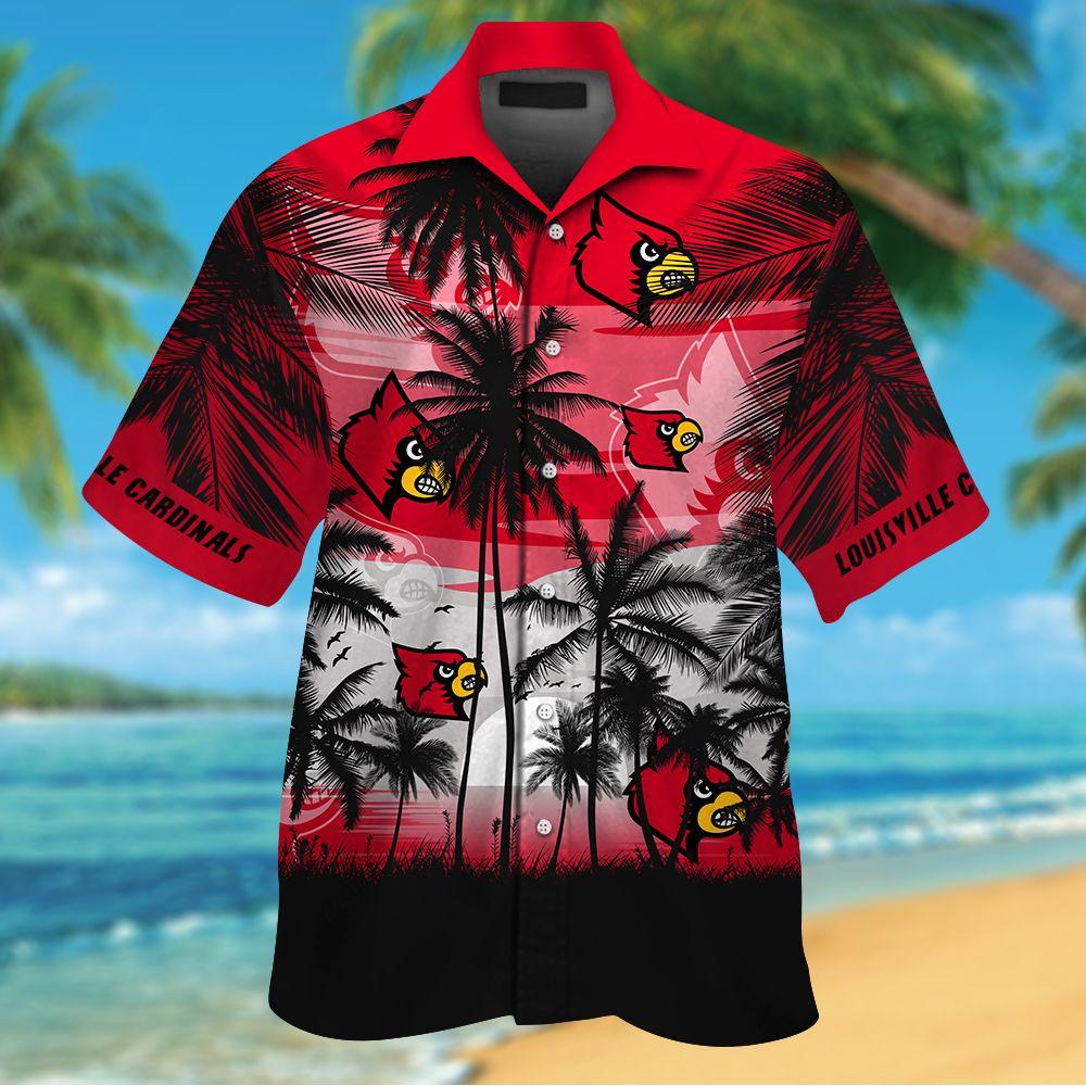 NCAA Louisville Cardinals Summer Hawaiian Shirt Men Women Shorts