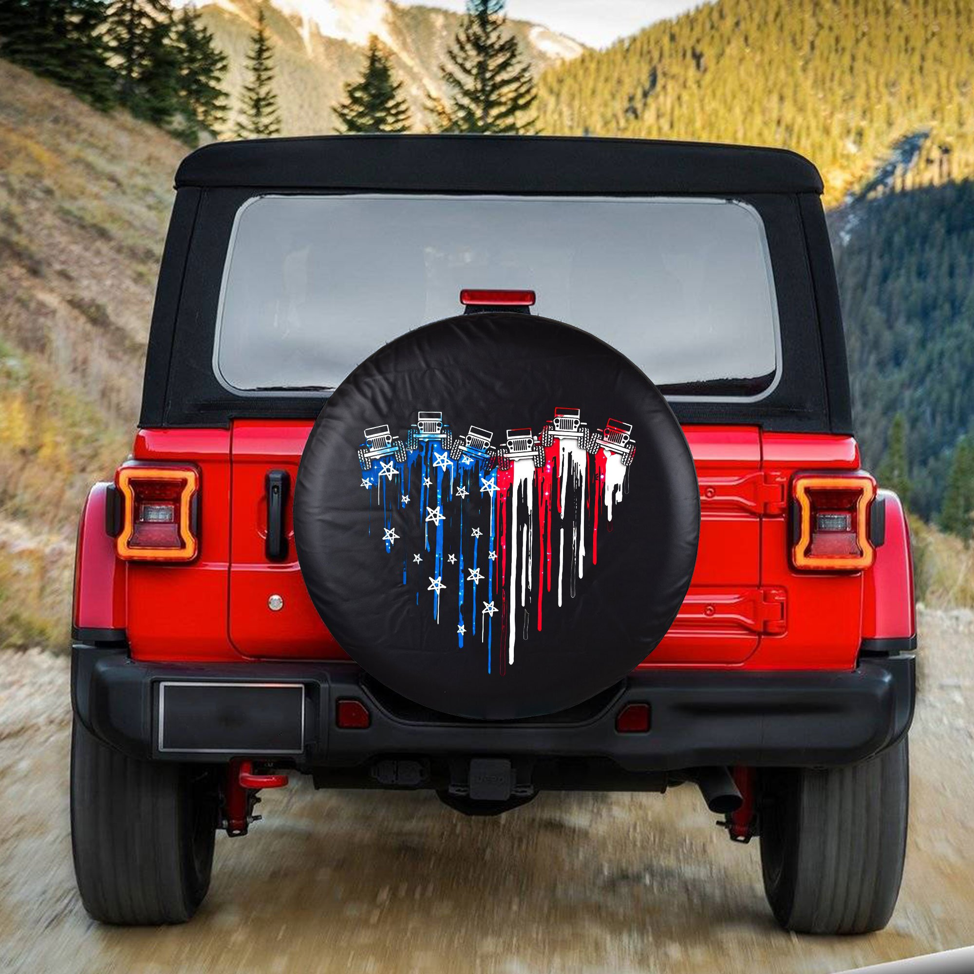 Jeep Heart US Flag Tire Cover