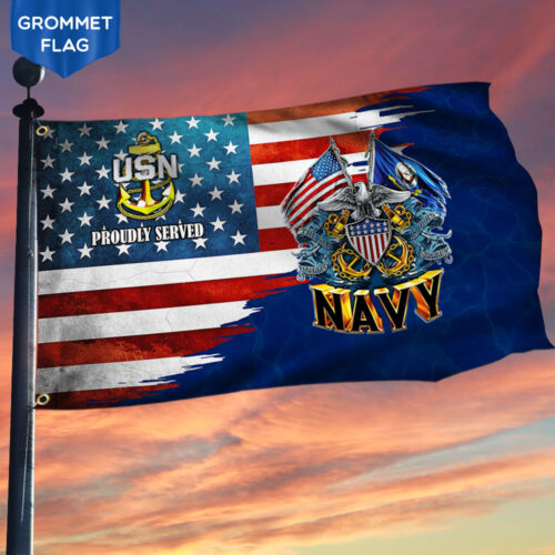 US Navy Proudly Served American Flag