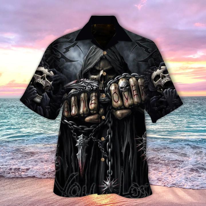 Skull Game Over You Lose Hawaiian Shirt