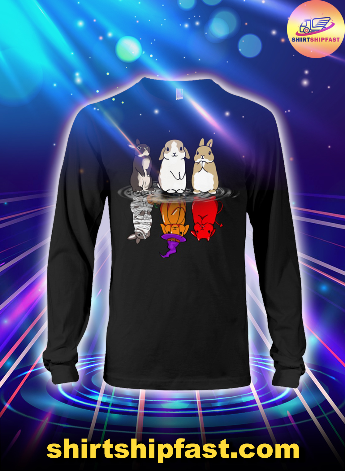Bunny-halloween-reflection-long-sleeve-tee-2