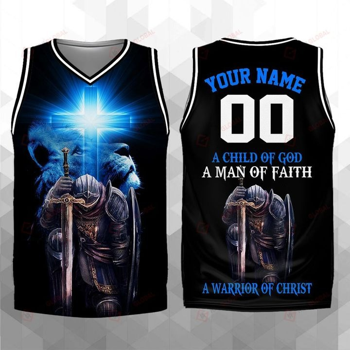 Personalized A Child Of God A Man Of Faith A Warrior Of Christ Jersey Tank Top