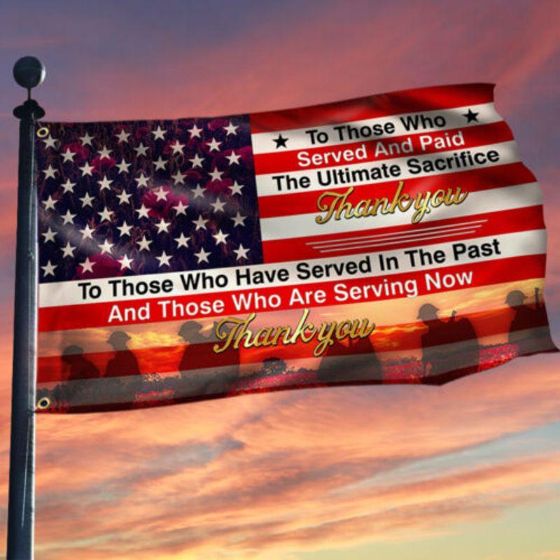 US Veteran The Ultimate Sacrifice Thank You House Flag Garden Flag