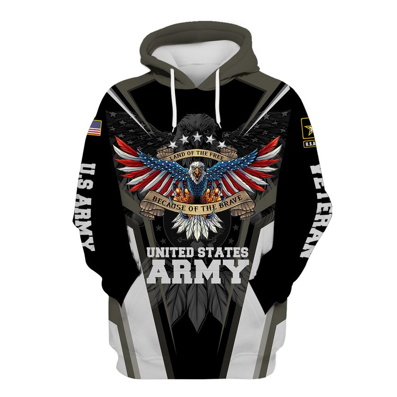 United States Army Land of the free because of the brave 3D Hoodie Shirt