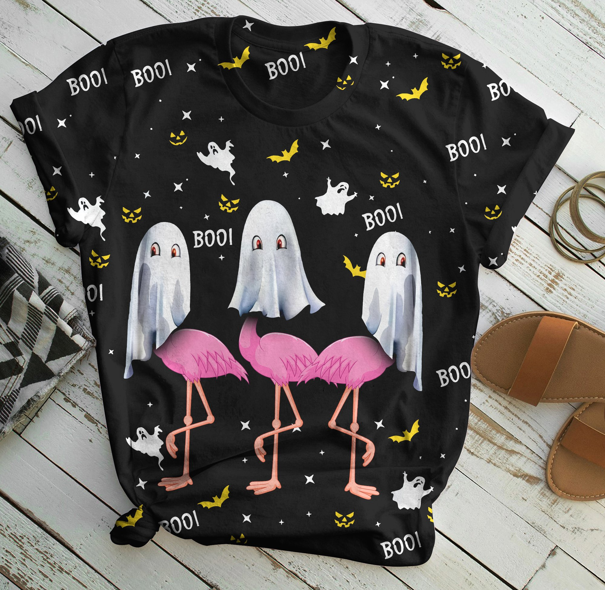 Flamingo boo boo halloween all over print shirt