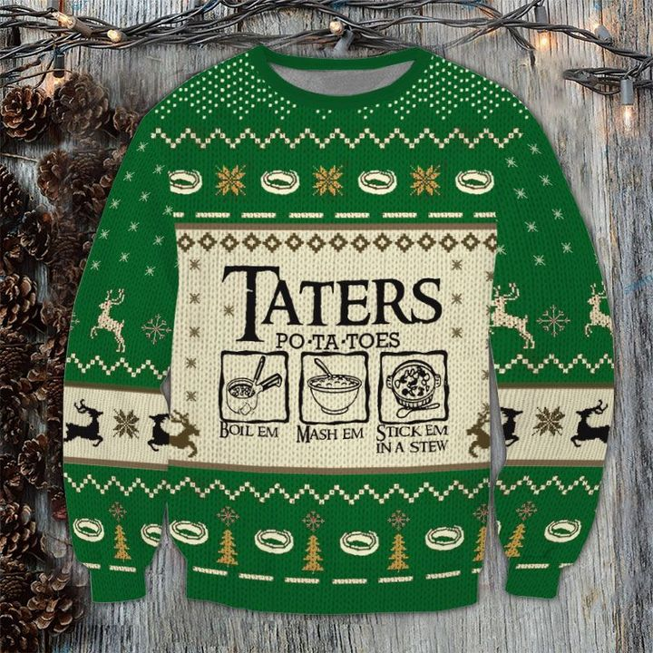 Lord Of The Rings Taters Potatoes Recipe Ugly Christmas Sweatshirt