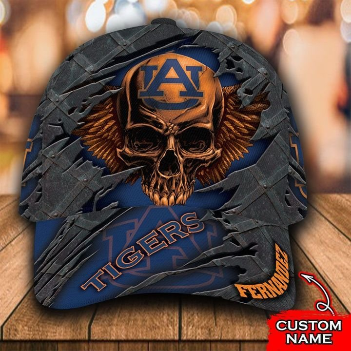 NCAA Auburn Tigers 3D Skull Custom Name Classic Cap