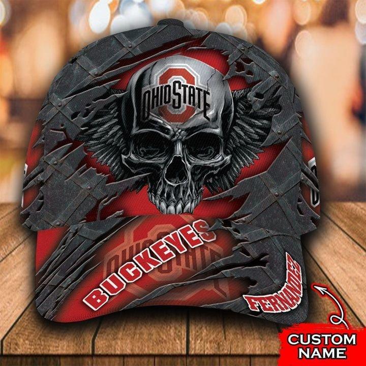 NCAA Ohio State Buckeyes 3D Skull Custom Name Classic Cap
