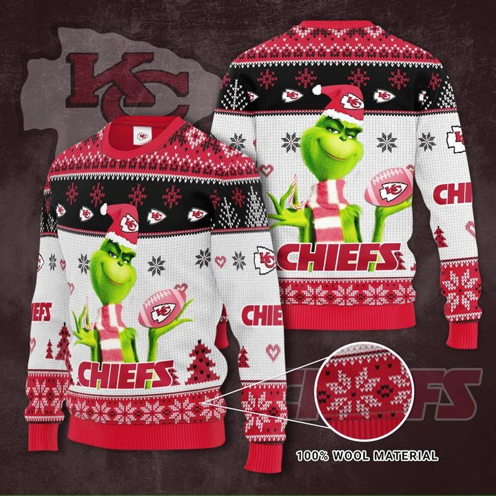 Grinch Kansas City Chiefs 3D Ugly Christmas Sweater