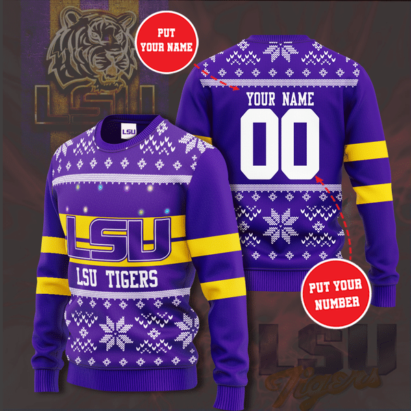 Personalized LSU Tigers Custom Name And Number Ugly Sweater