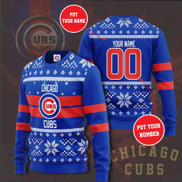 Personalized Chicago Cubs Custom Name And Number Ugly Christmas Sweater