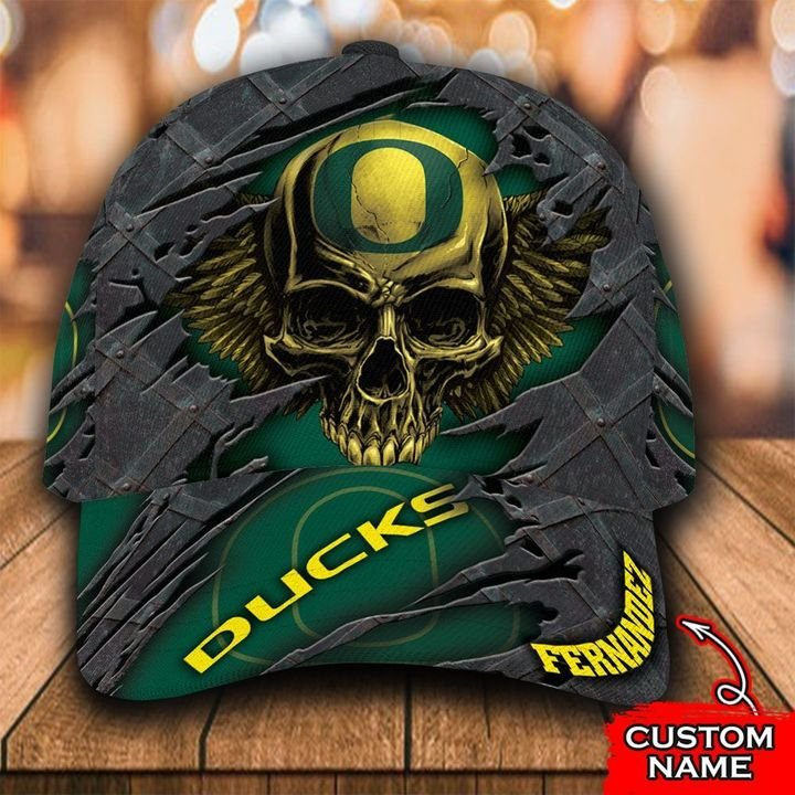 NCAA Oregon Ducks 3D Skull Custom Name Classic Cap