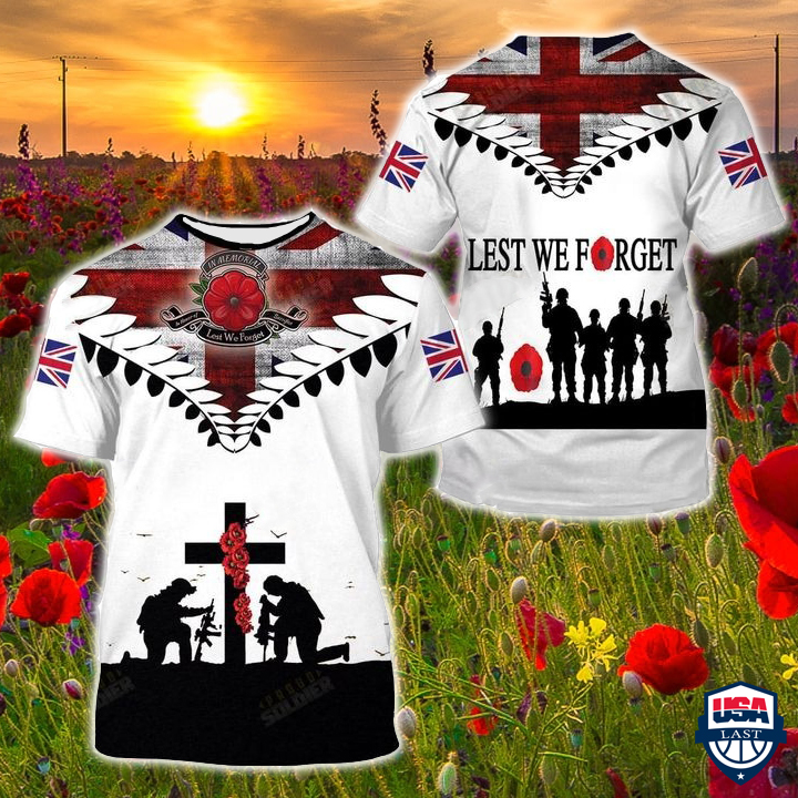 UK Veterans Lest We Forget 3D Shirt