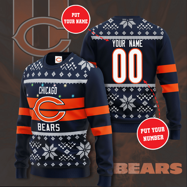 Personalized Chicago Bears Custom Name And Number Ugly Christmas Sweater