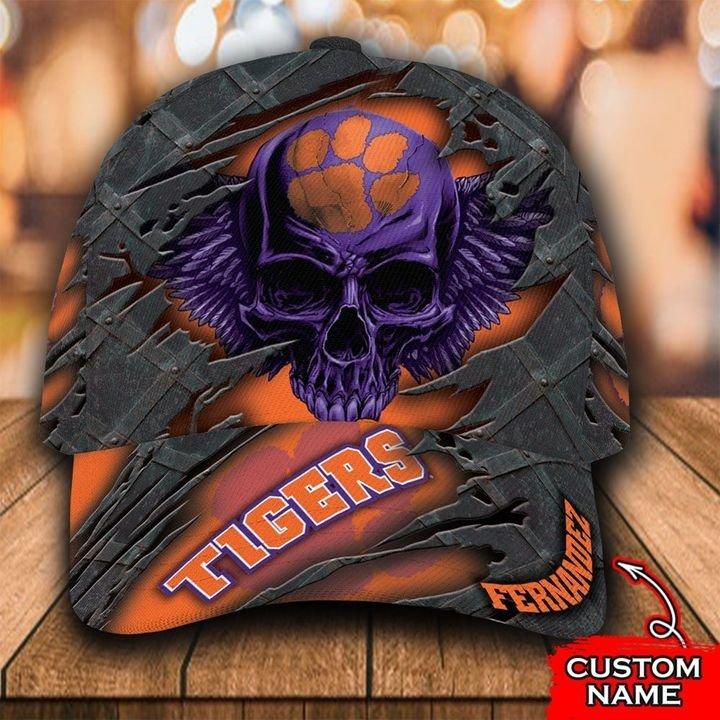 NCAA Clemson Tigers 3D Skull Custom Name Classic Cap