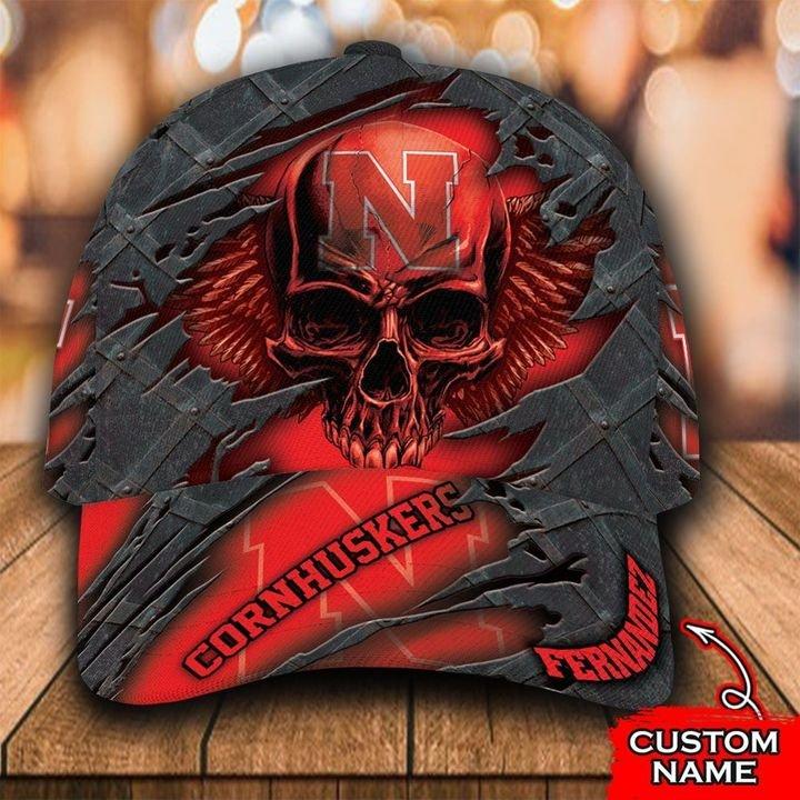 NCAA Nebraska Cornhuskers 3D Skull Custom Name Classic Cap