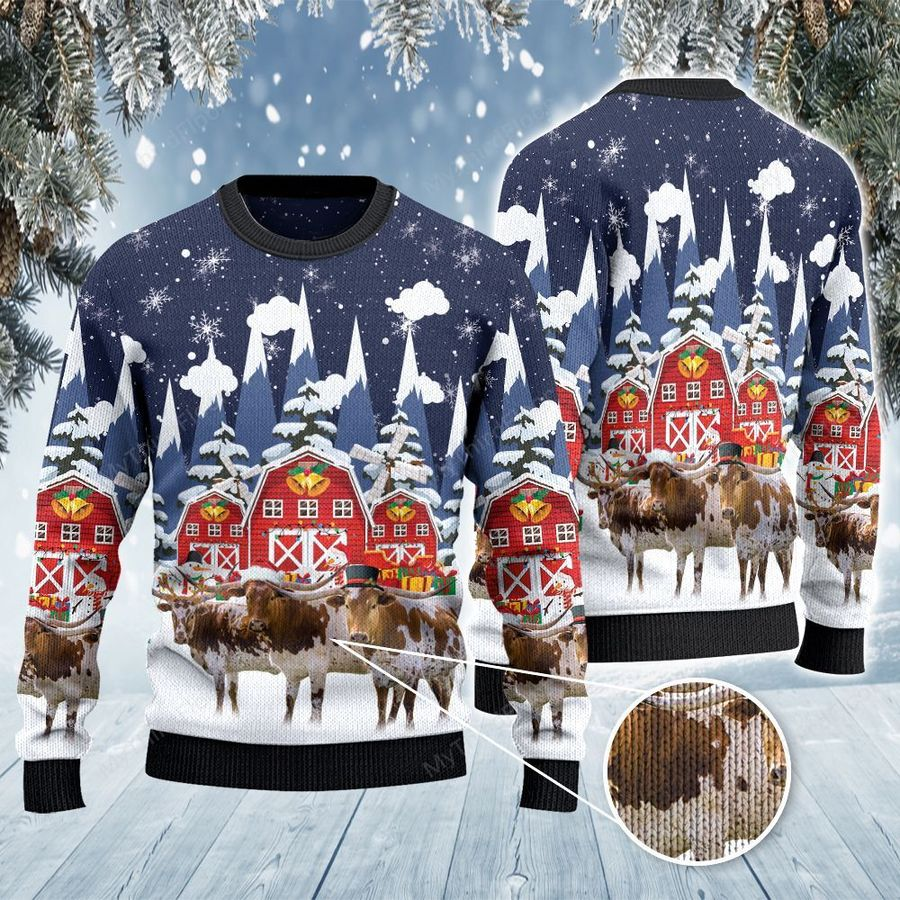 TX Longhorn Cattle Lovers Snow Farm All Over Print Ugly Sweater-1