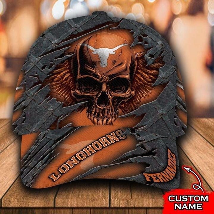 NCAA Texas Longhorns 3D Skull Custom Name Classic Cap