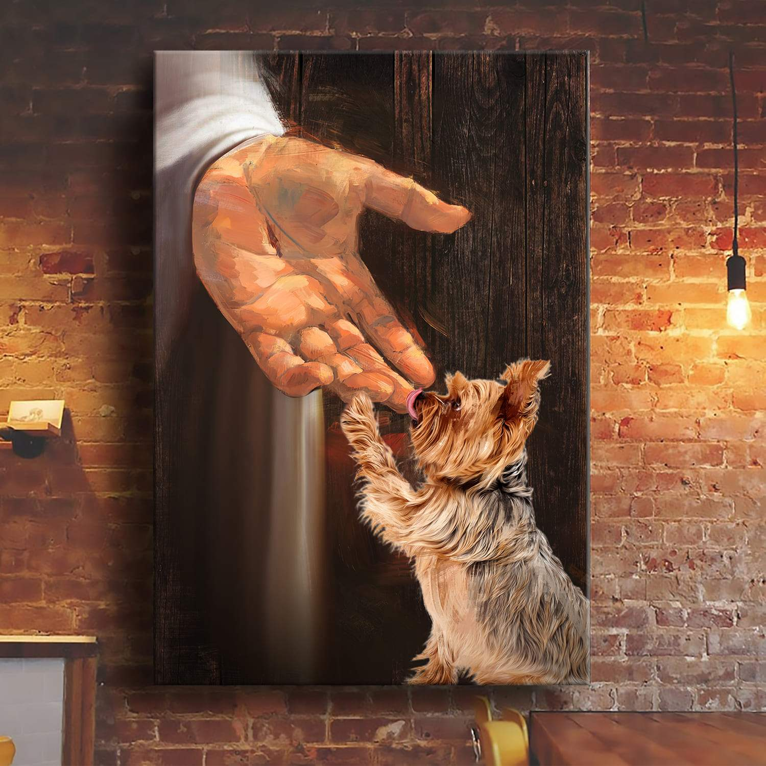 Yorkshire Terrier In The Hand Of God Wall Art Poster And Canvas Print