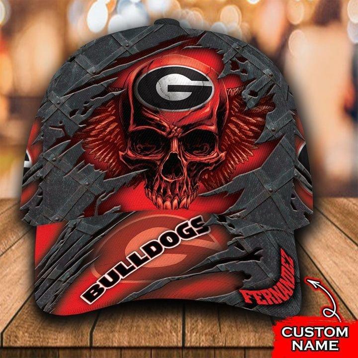 NCAA1 Georgia Bulldogs 3D Skull Personalized Name Classic Cap