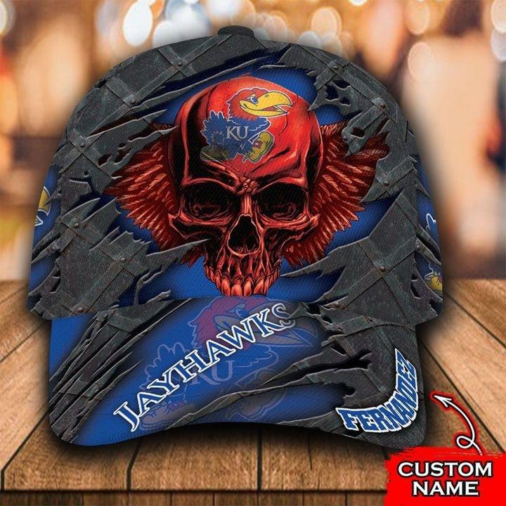 NCAA Kansas Jayhawks 3D Skull Personalized Name Classic Cap