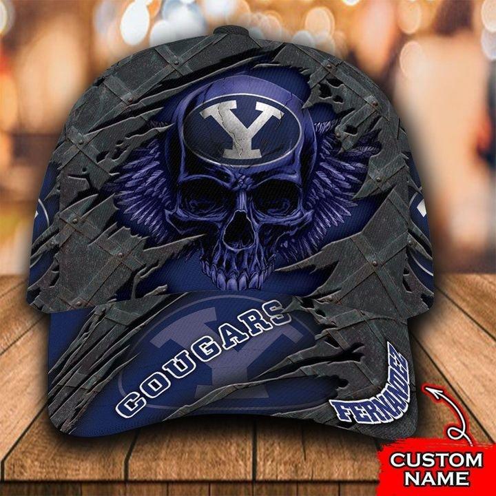 NCAA BYU Cougars 3D Skull Custom Name Classic Cap