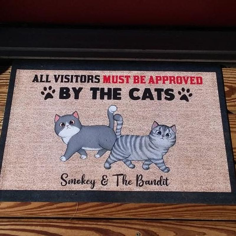 All Visitors Must Be Approved By Cats Personalized Doormat