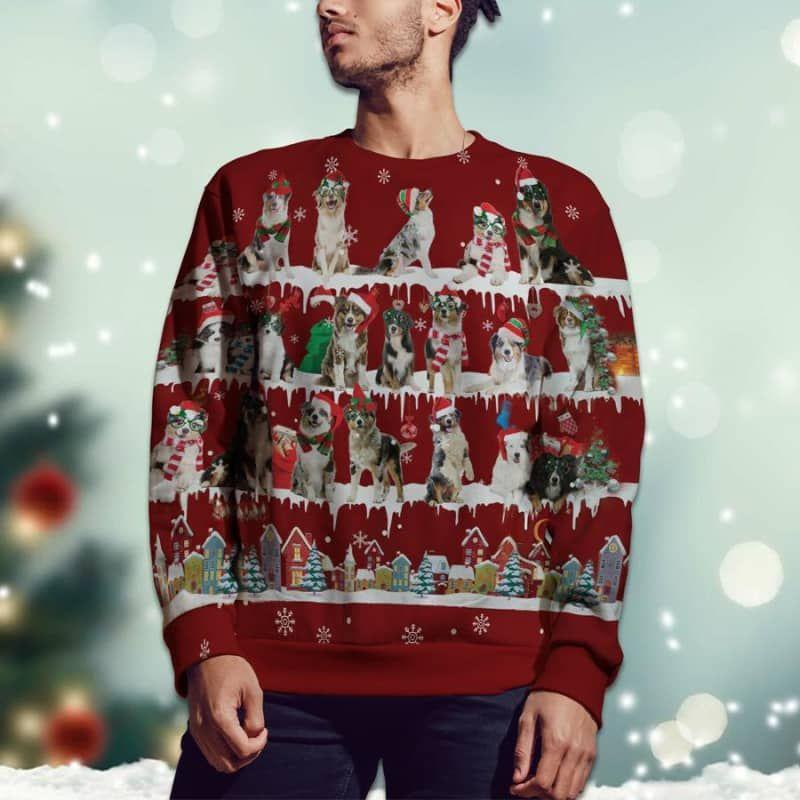Australian Shepherd Snow Christmas 3D Ugly Sweater-2