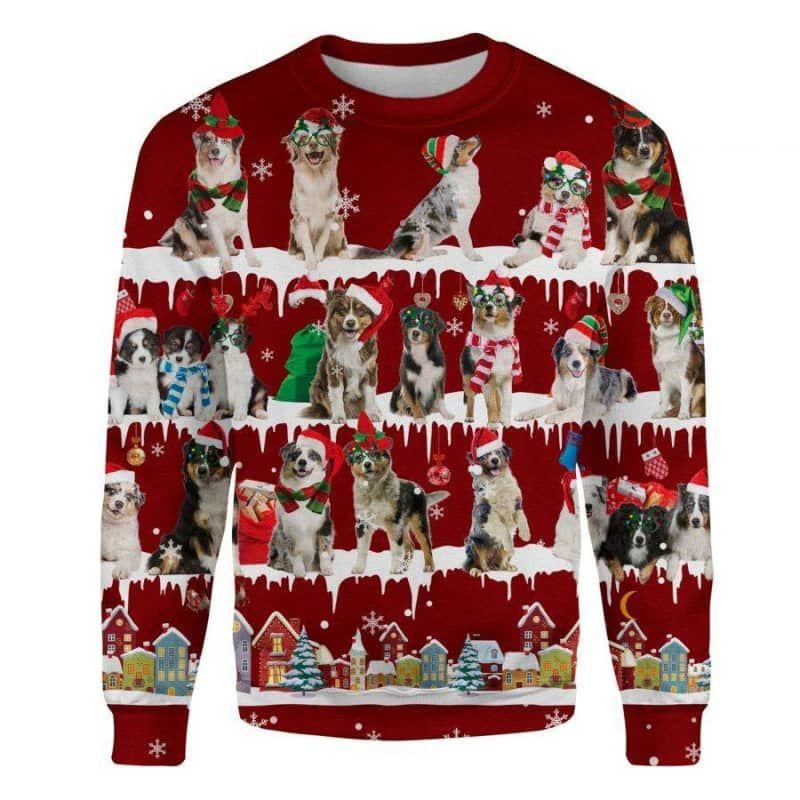 Australian Shepherd Snow Christmas 3D Ugly Sweater