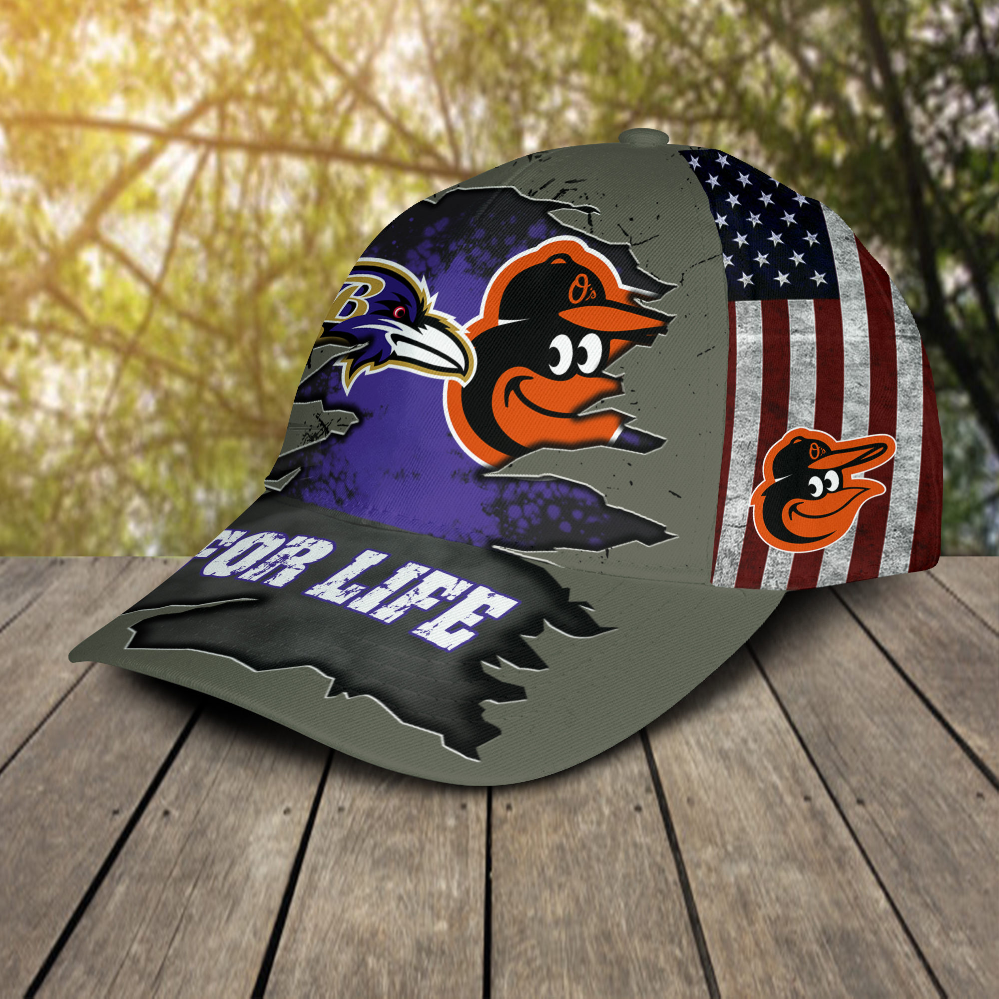Baltimore Ravens And Baltimore Orioles For Life Hat Cap -2