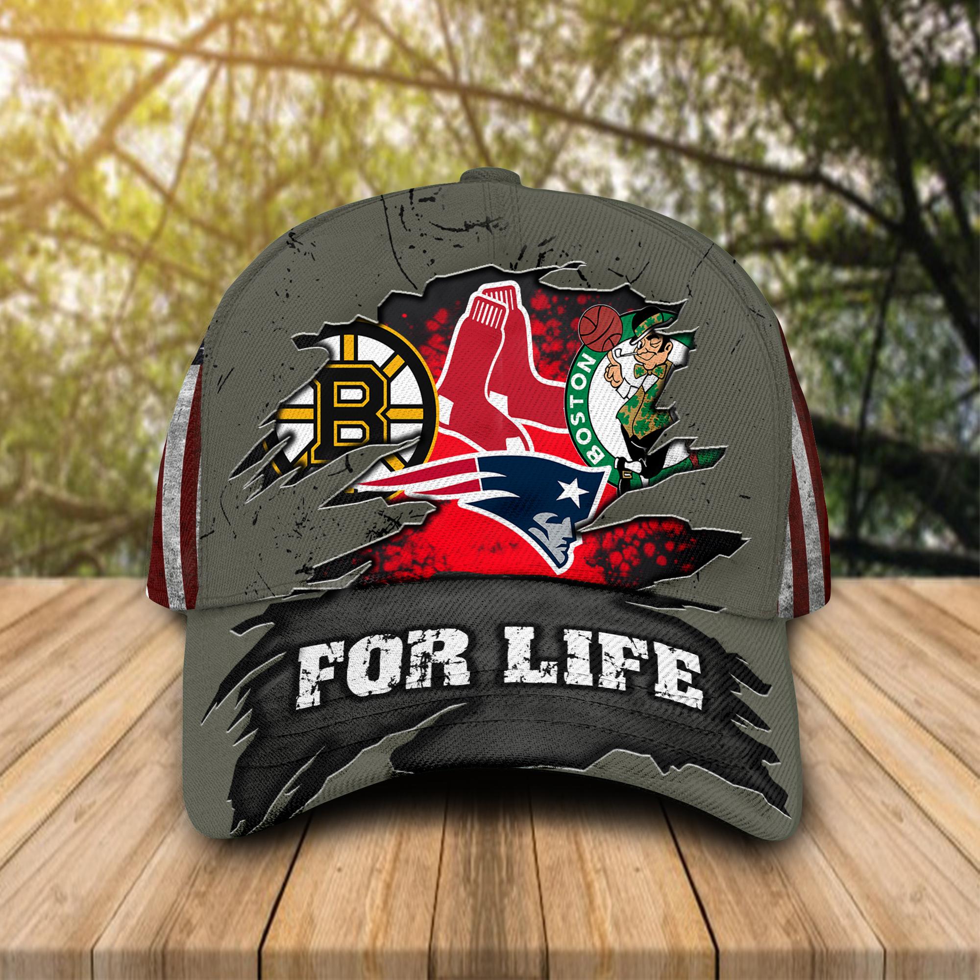 Boston-Celtics-New-England-Patriots-Boston-Bruins-Boston-Red-Sox-For-Life-Cap-Hat