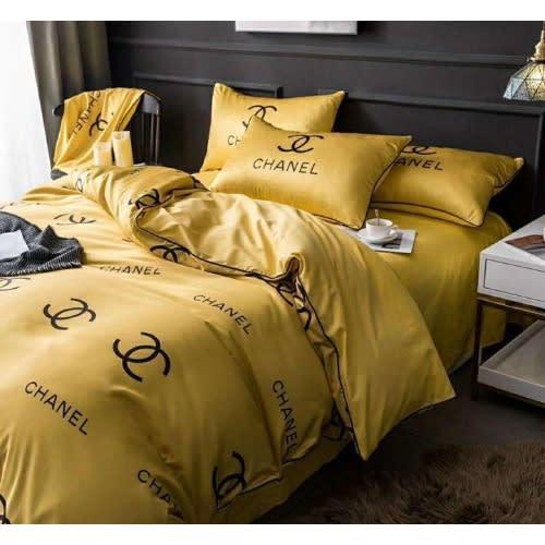 Chanel Premium Golden Luxury Brand Bedding Sets