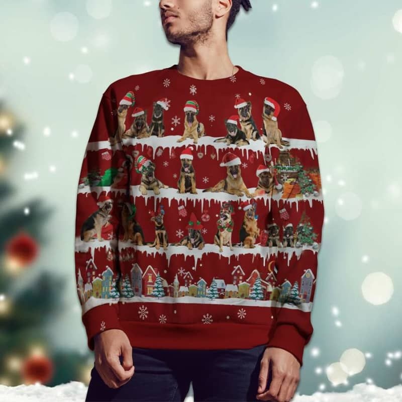 German Shepherd Snow Christmas 3D Ugly Sweater-2